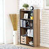 Fitueyes Cubeicals Bookcase Vertical Organizer Media Tower Storage Shelves CD Racks and Stands BBC506201WB