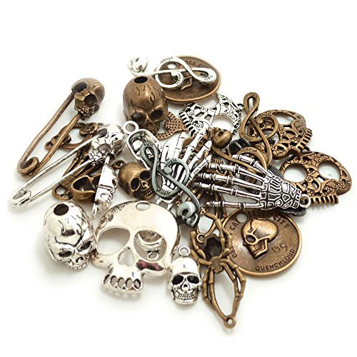 Bonayuanda 100 Gram Mixed Alloys Metal Antique Skulls-shaped Pendant Charms Bracelet Necklace DIY Jewelry Making Accessory -