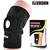 Knee Brace Support Sleeve For Arthritis, ACL, Running, Basketball, Meniscus Tear, Sports, Athletic. Open Patella Protector Wrap, Neoprene, Non-Bulky, Relieves Pain with Adjustable Strapping