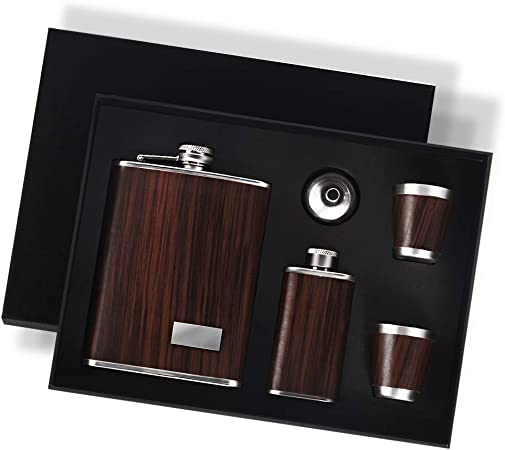 Funnel and 7 Cups in Wooden Presentation Box Stainless Steel Hip Flask Gift Set