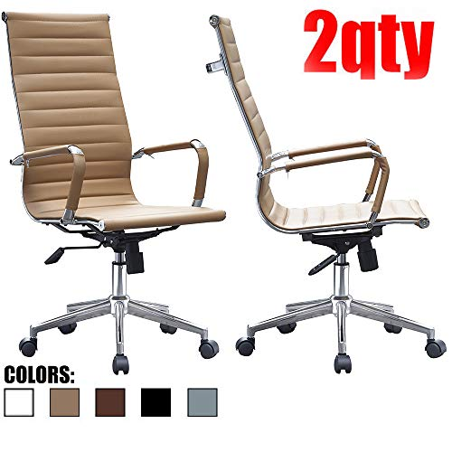 2xhome – Set of Two 2 – Tan – Modern High Back Tall Ribbed PU Leather Swivel Tilt Adjustable Chair Designer Boss Executive Management Manager Office Conference Room Work Task Computer