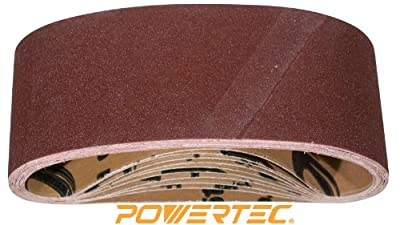 POWERTEC 110450 3-Inch x 21-Inch 120 Grit Aluminum Oxide Sanding Belt, 10-Pack from Southern Technology LLC