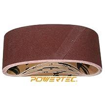 POWERTEC 110080 4-Inch x 24-Inch 100 Grit Aluminum Oxide Sanding Belt, 10-Pack