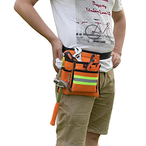 Reflective Electrical Maintenance Tool Pouch Bag Technician's Tool Holder Work Organizer for Roofers Maintenance Workers Construction Workers Plumbers Fits the Waist to 44 inch(Single Updated, Orange) by zojo (Image #6)