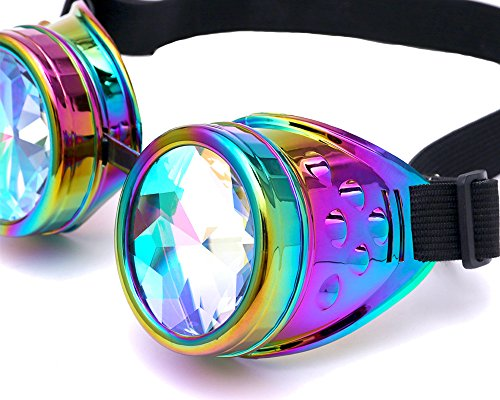 Lelinta Steampunk Rave Glasses Goggles with Rainbow Crystal Glass (Cool Steampunk Costumes)