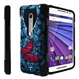 Motorola Moto Droid Maxx 2 black Case| Moto X-Play Case[Traveler Series] Shell Defender with Built in Kickstand, Two Piece Hybrid Case by Untouchble - Blue Pink Butterfly