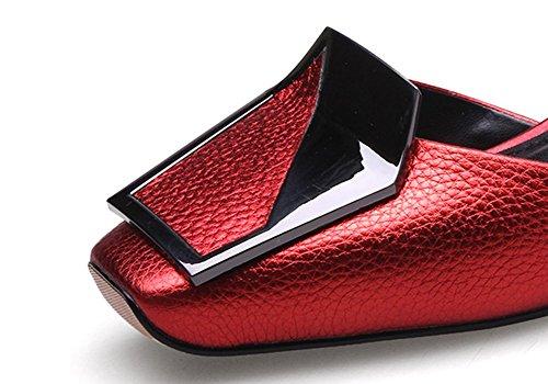 ZCJB Sandalias Baotou Mujer Verano Cuero Primavera Boca Poco Profunda Zapatos De Mujer Salvajes ( Color : Rojo , Tamaño : EU37/UK4/L:23cm )