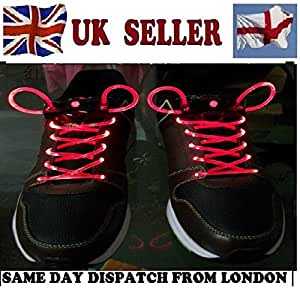 LED shoe laces / boots / trainers laces fibre optic flash light. Glow in the dark flashing shoe laces. RED SHOE LACES by LED SHOE