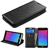 NageBee Leather Wallet Flip Pouch Cover Fold Stand Case for LG Leon with Microfiber Cleaning Cloth - Black