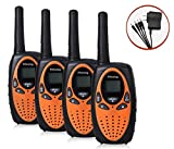 Peboxing Walkie Talkies, 2 Way Radios 22 Channel long range good sounds Walkie Talkies for Kids adults, 4 Pack Orange