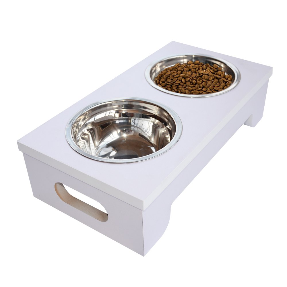 BINGPET Elevated Dog Bowls Raised Pet Feeder with Double Stainless Steel Dishes for Food and Water 15.2'' X 8''X 4'' by BINGPET (Image #6)