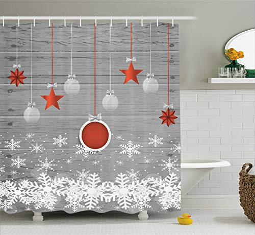 Ambesonne Red Holiday Star Ornaments and Snowflake & Gray Christmas Fabric Shower Curtain -