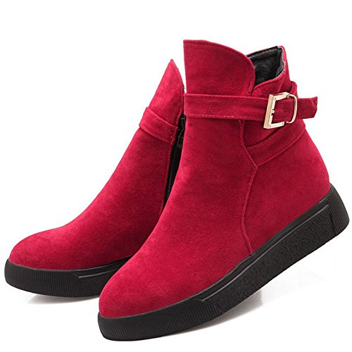 COOLCEPT Women Comfort Platform Zipper Ankle Boots With Belt Buckle Red FfA6tROs