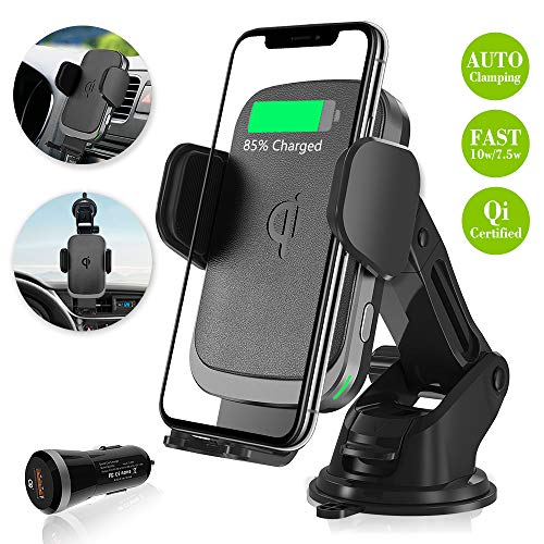Wireless Charger Car Mount for Note 8 S10/Plus iPhone Xs/Max/X etc, Auto Clamp Qi Fast Charging 10W Air Vent Windshield Dashboard Automatic Cell Phone Holder for Samsung Galaxy LG Pixel, by Plafnio