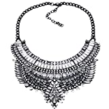 NABROJ Vintage Black Statement Bib Necklace Gypsy Ethnic Tribal Pendant with White Crystal Pears Marquises Drag Queen Costume Jewelry for Women-HL32 Black and White