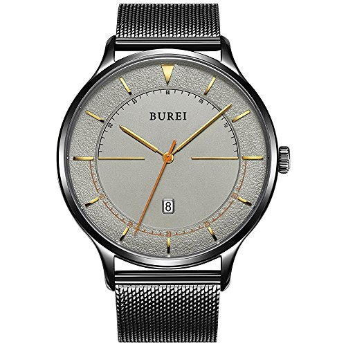 BUREI Unisex Casual Slim Minimalist Designer Watches with Large Dark Grey Face Date Mineral Glass Black Mesh - For Slim Glasses Face