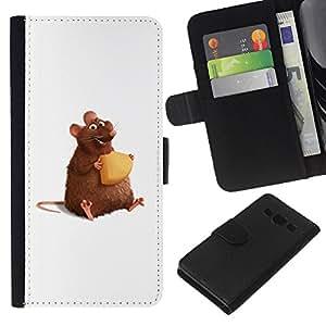 - CARTOON CHEESE RAT CUTE ART HAMSTER RODENT - - Prima caja de la PU billetera de cuero con ranuras para tarjetas, efectivo desmontable correa para l Funny House FOR Samsung Galaxy A3