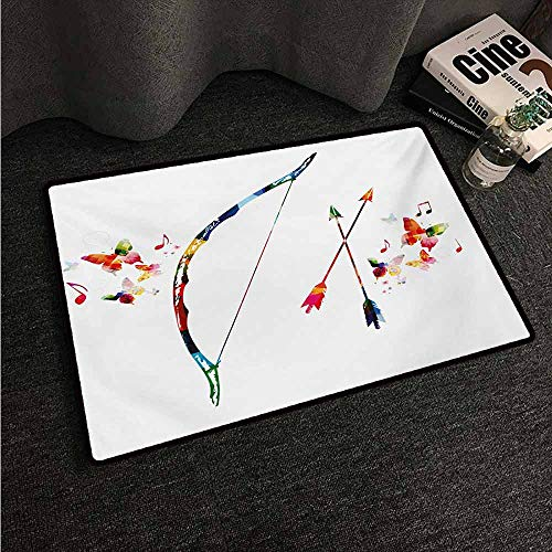 (HCCJLCKS Interior Door mat Modern Abstract Unusual Bow and Arrow with Butterflies Music Notes Floral Design Print All Season General W20 xL31 Multicolor )