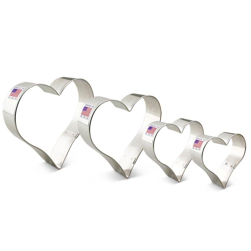 Ann Clark Heart Cookie Cutter Set - 4 Piece - 2 5/8'', 3 1/4'', 3 5/8'', 4'' - Tin Plated Steel