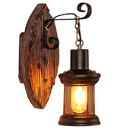 Indoor Wall Lamp Wall Sconce,Vintage Retro Wood Lantern Art Glass ...