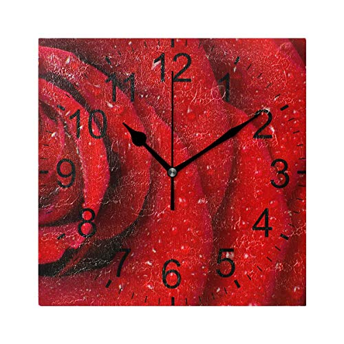 LUCASE LEMON ALEX Valentine's Day Red Love Rose Square Acrylic Wall Clock Non Ticking Silent Clocks for Home Decor Living Room Kitchen Bedroom Office School