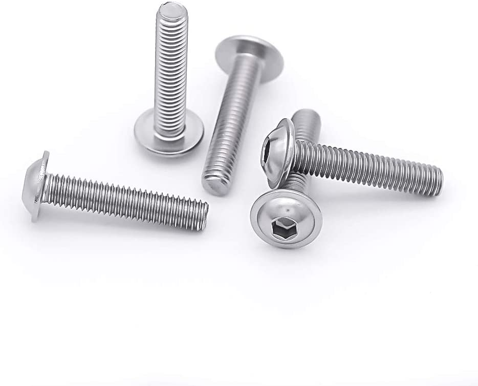 Allen Socket Drive Bright Finish M5-0.8 x 12mm Flanged Button Head Socket Cap Screws Bolts 304 Stainless Steel 18-8 50 PCS by Eastlo Fastener Fully Machine Threaded