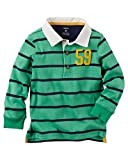 Carter's Boy L/S Striped Jersey Rugby Polo; Green (3M)