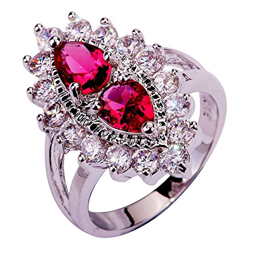 (Narica Womens Brilliant Marquise Cut Ruby Spinel Cluster Engagement Cocktail Ring)