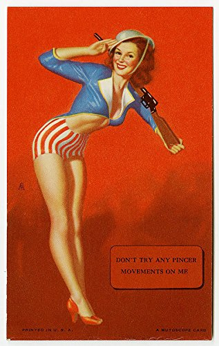 Vintage Pin Up Mutoscope Arcade Card W/ Earl Moran WWII Patriotic Soldier Girl Mint Condition Cheesecake From Original 1940s Storage ()