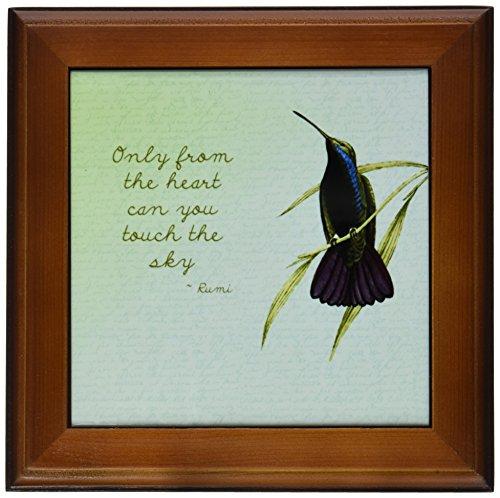 3dRose ft_130624_1 Hummingbird Vintage with Rumi Quote Inspirational Art Framed Tile, 8 by - Framed Tile