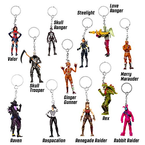 PMI Fortnite figural Keychains Set of 12 - Authentic Fortnite Figures with Keychain, Skull Trooper, Skull Ranger & Other Popular Fornite Battle Royale Toy Characters - C Series Collection 3 of 3
