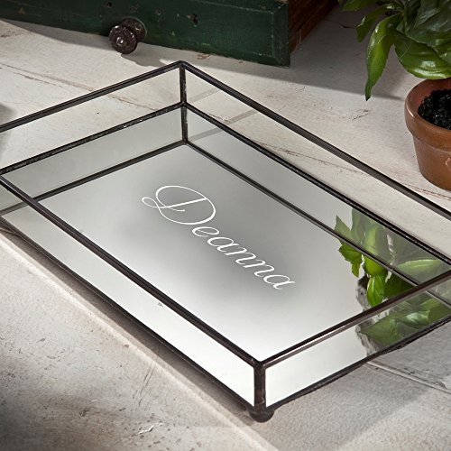 J Devlin TRA 108 ET205 Engraved Glass Jewelry Tray Vanity Organizer Dresser Personalized with Mirror - Vanity Glasses