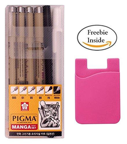 Sakura Pigma Micron pens Set + EZkeep Adhesive Silicone Holder, Archival Pigment Ink Drawing pens - 6 Pieces Manga Basic Set Supplies for Artist (005, 01, 05, 08, FB Brush Pen, Gelly roll Pen White)