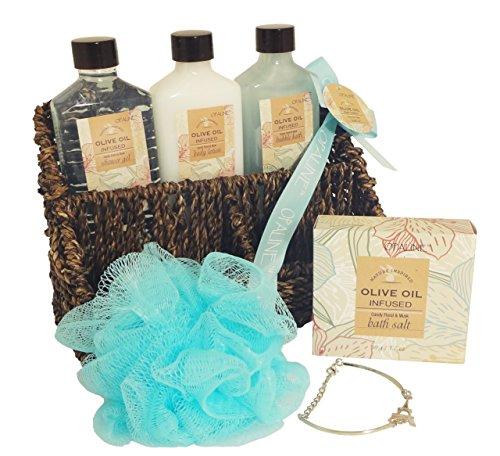 6 Piece Sea Grass Basket Olive Oil Bath and Shower Spa Gel Lotion Sets Bundle