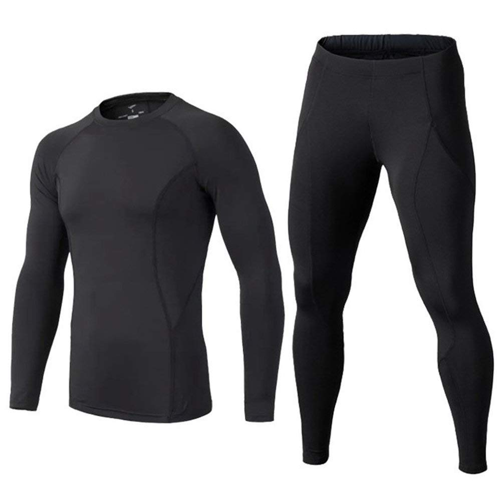 BUYKUD Kids' Boys Long Sleeve Athletic Base Layer Compression Underwear Shirt & Tights Set Black by BUYKUD