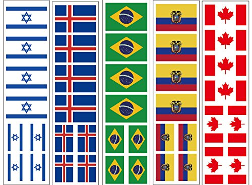 40 Tattoos: International World Flags, Olympic Party Favors