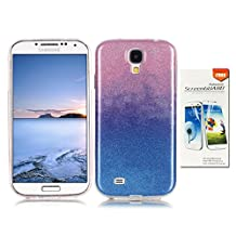 OuDu Samsung Galaxy S4 Case, Bling Glitter Case TPU Silicone Cover for Samsung Galaxy S4 Sparkle Style Cover Gel Rubber Shell Flexible Soft Bumper - Pink & Blue