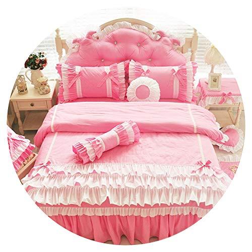 Modern Korean 100% Cotton Bed Set Pink Princess Kids Girls Bedding Set Twin Queen King Size Duvet Cover Bed Skirt Set Pillowcase,Color 1,Super King Size -