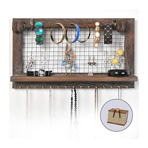 VIEFIN Rustic Wall Mounted Mesh Jewelry Organizer, Wood Shabby Chic Earring Holder with Shelf, Hanging Hook for Necklace, Removable Rod for Bracelet(Rustic,Standard) - FREE SMALL CASE GIFT: A Small Cloth Jewelry Case will be given FREE for the storage of ring or studs if you buy Viefin wall-mounted wooden jewelry organizer! PERFECT SIZE: 17*10*3.3 inches and 15 necklace storage hooks, perfect size designed to fit on your bedroom, closet, or bathroom wall. STRONGER STRUCTURE: Viefin use stronger wood structure, bracelet rod and wood shelf of high quality, extend the service life of the organizer and durable rustic wood design showcases your jewelry in style. - wall-shelves, living-room-furniture, living-room - 51IoCU6w9sL. SS570  -