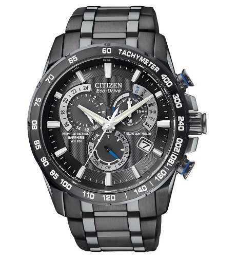 Mens Watch Citizen AT4007-54E Atomic Black Stainless Steel Black Dial Eco-Drive (Steel Atomic Watch Stainless)