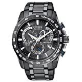 Mens Watch Citizen AT4007-54E Atomic Black Stainless Steel Black Dial Eco-Drive
