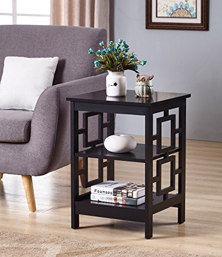Black Finish Wooden Square Design Chair Side End Table with 3-tier Shelf Review