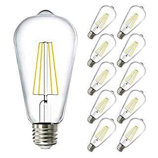 Sunco Lighting 10 Pack ST64 LED Bulb, Dimmable, Waterproof, 8.5W=60W, 5000K Daylight, Vintage Edison Filament Bulb, 800 LM, E26 Base, Restauarant or String Lights - UL