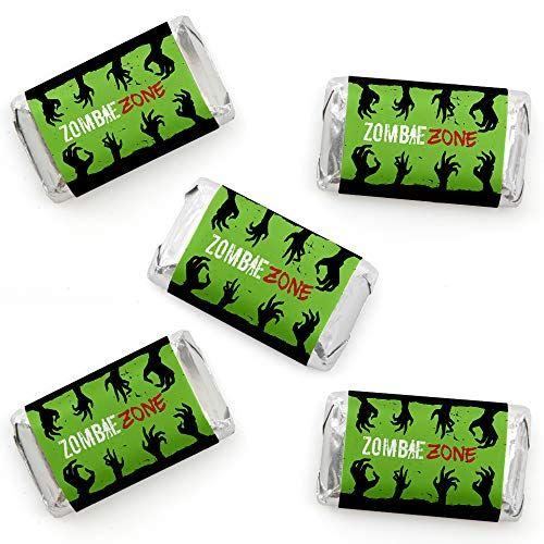 Zombie Zone - Mini Candy Bar Wrapper Stickers - Halloween or Birthday Zombie Crawl Party Small Favors - 40 Count -