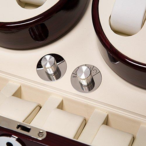 Wood 4+6 Watch Winder Mens Watches Box Storage Display Automatic Rotation Jewelry Case Organizer by Gregarder (Image #5)