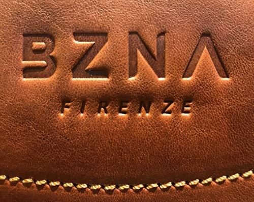 BZNA Firenze Bag Luan cognac Weekender herr resväska business bag vegetable tanned Italy designer dam handväska läderväska axelväska väska läder ny