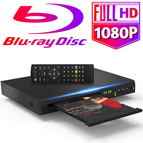 🥇 1080P Blu Ray DVD Player for TV with 5ft HDMI AV Cables DTS Sound Effect