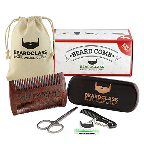 BEARDCLASS-Beard-Comb-2-in-1-Dual-Sided-Coarse-and-Fine-Teeth-for-Long-and-Short-Beards-Wooden-Beard-Comb-for-Beard-Oil-Wax-Balm-100-Natural-Sandalwood-Mens-Beard-Care-Grooming-Kit-Set-For-M