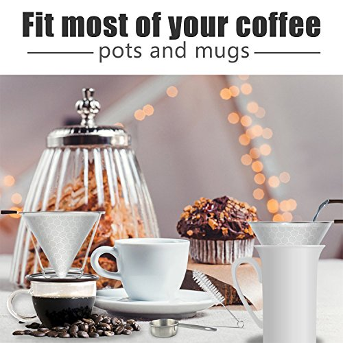 Stainless Steel Reusable Coffee Filter Pour Over Coffee Cone Dripper Permanent Honeycombed Mesh Basket 4 Cups Bonus Removable Cup Stand and Brush By Valerie by Valerie (Image #6)