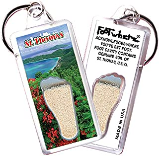 "product image for St. Thomas, ""FootWhere"" Keychain (StT104 - Magens Bay). Authentic Destination Souvenir acknowledging Where You've Set Foot. Genuine Soil of Featured Location encased Inside Foot Cavity. Made in USA."